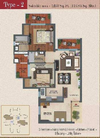 3 BHK 4 Acre Residential Apartment for Sale in Sector 1 Noida