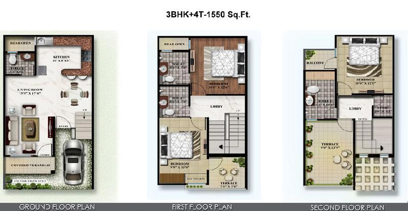 3 BHK Bungalows / Villas for Sale in Crossing Republik, Ghaziabad - 7 Acre