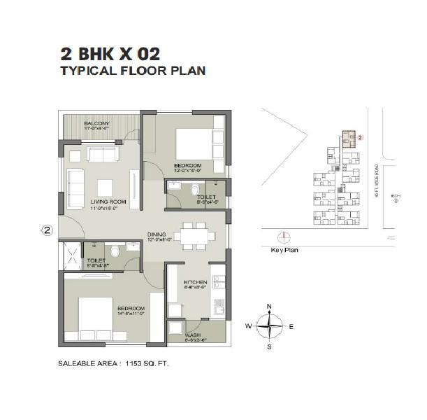 2 BHK Flats & Apartments for Sale in Phulnakhara, Bhubaneswar - 1153 Sq.ft.
