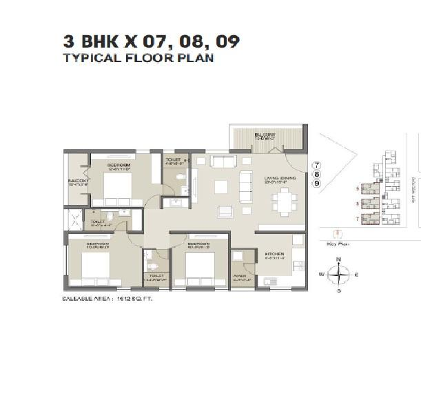 3 BHK Flats & Apartments for Sale in Phulnakhara, Bhubaneswar - 1612 Sq.ft.
