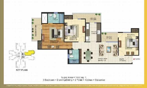 3 BHK 1490 Sq.ft. Residential Apartment for Sale in Sector 16C Greater Noida
