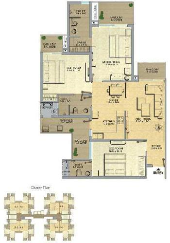 3 BHK 1740 Sq.ft. Residential Apartment for Rent in Techzone 4, Greater Noida