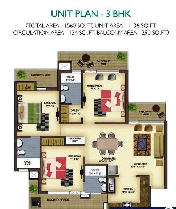 2 BHK 1260 Sq.ft. Residential Apartment for Sale in Zirakpur Road, Chandigarh