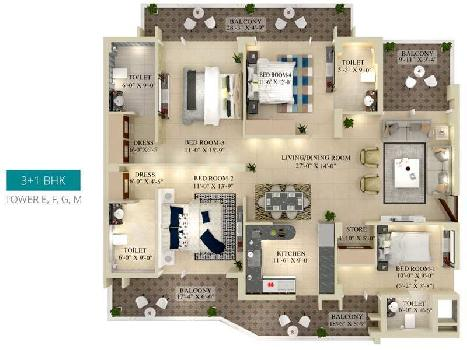 4 BHK 1869 Sq.ft. Residential Apartment for Sale in Airport Road, Chandigarh