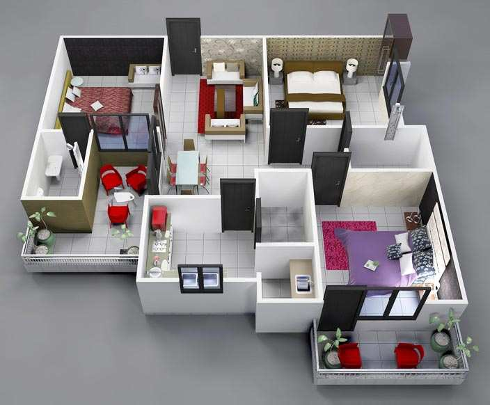 3 BHK Flats & Apartments for Sale in Shalimar garden, Ghaziabad - 1200 Sq.ft.