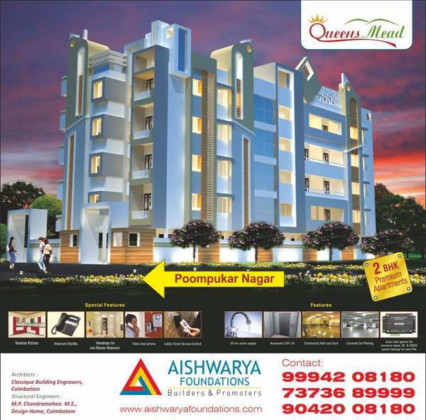 2 BHK Flats & Apartments for Sale in Thudialur, Coimbatore - 15 Cent