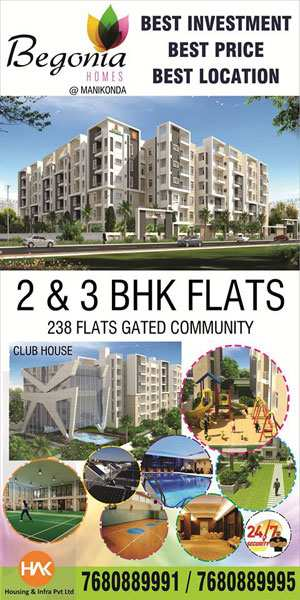 3 BHK Flats & Apartments for Sale in Manikonda, Hyderabad West - 1450 Sq.ft.